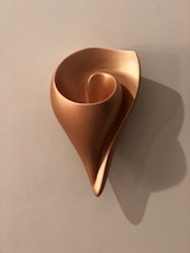 Rose Gold Shell Wall Sconce, hand made artisanal contemporary wall light by Hannah Woodhouse, ambient light for spas, hotels, and residential spaces
